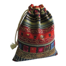 Woven String Bolsas Women Vintage Sac A Main Drawstring Bag Chic Folk Tribal Storage Bag Bohemian Drawstring Bag(China)
