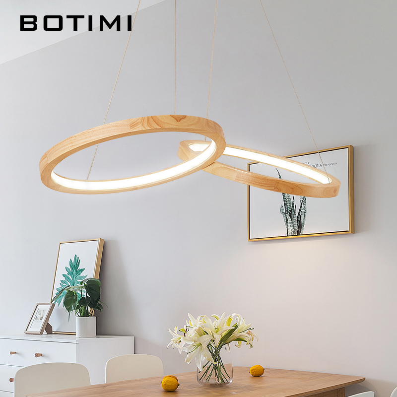 Botimi Wooden Led Pendant Lights For Dining Room Two Round Re Wood Kitchen Luminaire Hanging Lamp