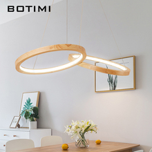 BOTIMI Wooden LED Pendant Lights For Dining Room two Round Lustre Wood Kitchen Luminaire Hanging Lamp