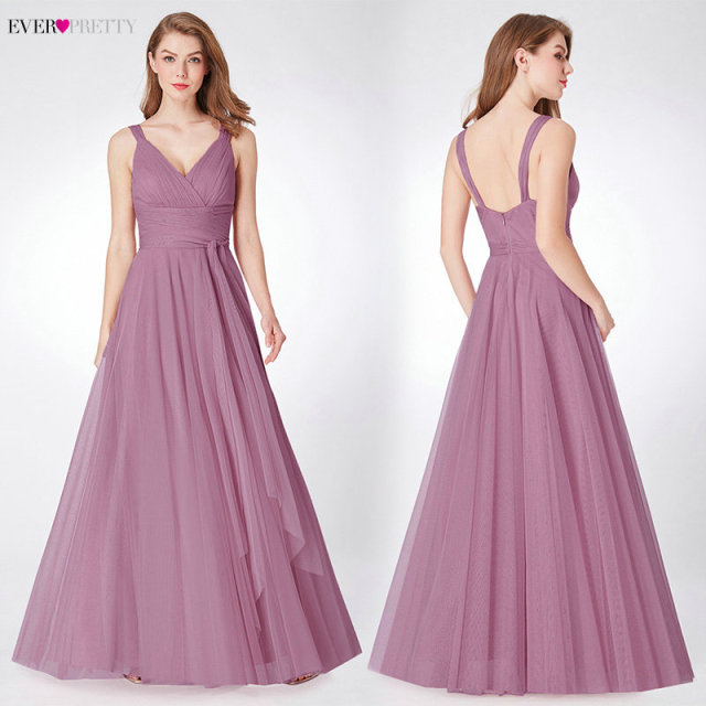 Prom Long Elegant Dresses Ever Pretty EP07303 V-neck Sleeveless A-line Tulle Teal Prom Dresses 2019 Pink Sexy Vestido Formatura 3