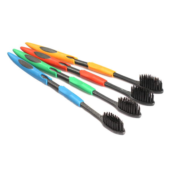 4 piezas doble Ultra suave cepillo de dientes bambú carbón Nano cepillo Cuidado Oral Color enviar al azar HJL2017