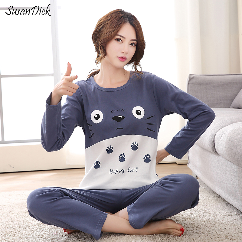SusanDick 2017 Cute Pijama   Set   Woman 100% Cotton Kawaii Totoro Cartoon Sleepwear Nighty Female Casual Autumn Winter   Pajamas     Sets