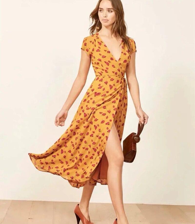 Boho Chic Floral jaune robe femmes été col en V à manches courtes en mousseline de soie robe mode Split Wrap robe mi-longue vacances Vestidos