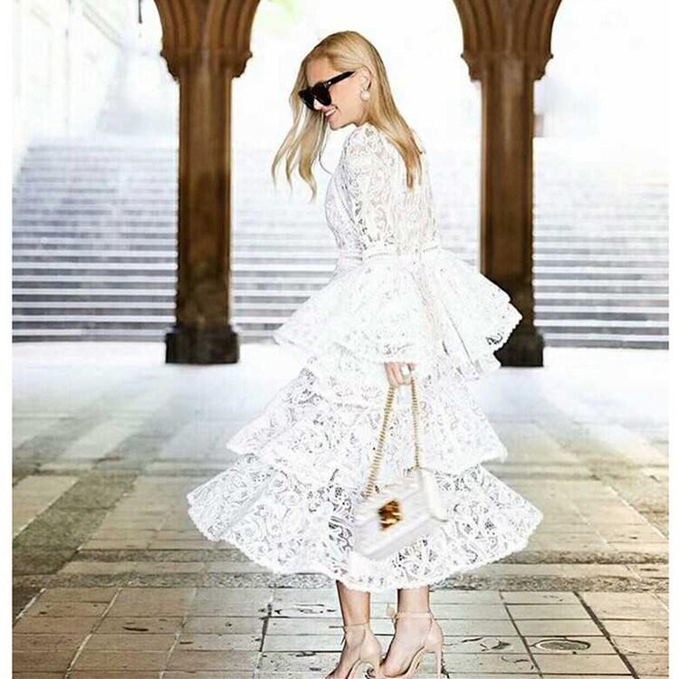 2018 été Vintage femmes blanc dentelle évider vacances robe pleine longue Flare manches volants robe élégante - 5