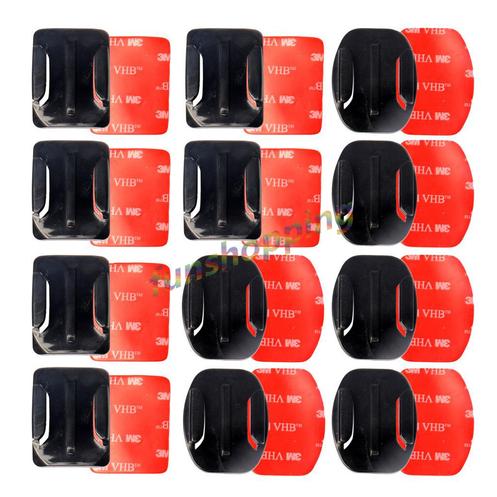 Initiative Superior Black 12pcs Helmet Accessories Flat Curved Adhesive Mount For Gopro Hero 6 5 4 3 /3+ Sjcam Sj4000 5000 6000 Camera High Quality And Low Overhead