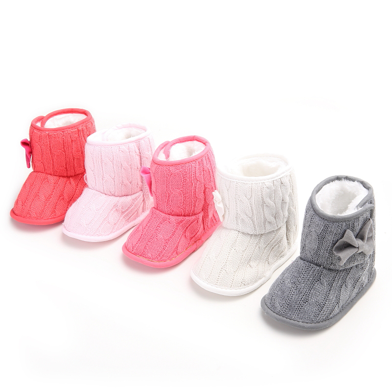 Winter Kids Girls Snow Fleece Knit Shoes Booties Winter Warm Crib Shoes Sneaker