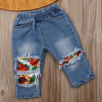 2PCS Toddler Kids New born Baby Girl Clothes Off Shoulder Lace Shirt Tops+Sunflowers Hole Denim Pants Outfits 1-5Y Fast Shipping 5