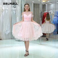 2018 Candy Color Bridesmaid Dresses Custom Made A Line Lace Crystal Knee Length Custom Made Off