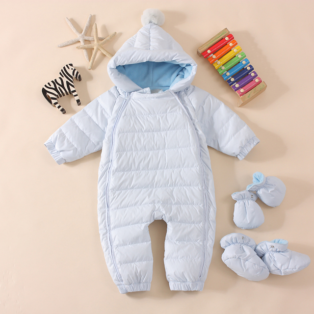 Baby rompers,jumpsuits Newborn brand Autumn winter baby snowsuit White duck down jacket outward clothes infant costume coveralls