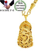 MHXFC Wholesale European Fashion Man Male Party Wedding Gift Vintage Dragon Cylinder Beads Real 18KT Gold Pendant Necklace NL174(China)