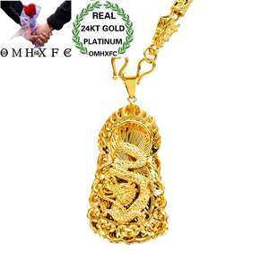 Pendant Necklace Cylinder Wedding-Gift Gold Vintage Fashion European Man Male Dragon