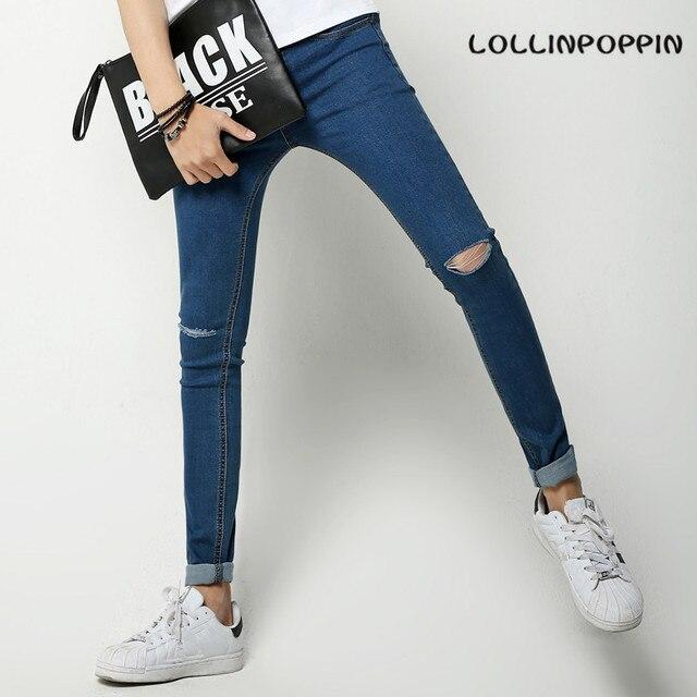 Rodilla Ripped Skinny Jeans Para Hombre Slim Fit Nuevo 2017 de Corea Moda  Apenada Denim Pantalones 6a12bdd0ced