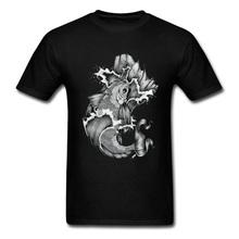 Koi koszulka w stylu tatuażu Art męska czarna koszulka karpia topy Lucky Fish Tshirt odzież Anime letnie męskie bawełniane koszulki tanie tanio UVRCOS Krótki CN (pochodzenie) O-neck tops Tees Regular Short Sleeve Suknem COTTON CASHMERE SILK Poliester Włókno bambusowe