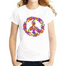 Screen Printing T Shirts Tops Peace Sign Floral  Novelty Women Short O-Neck Tees