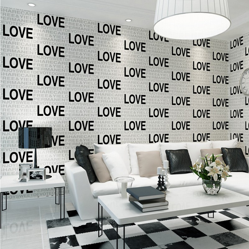 Modern 3D Stereo Foam LOVE Letter Wallpapers Bedroom Living Room Shopping Center Clothin ...