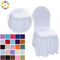 ZJFC 100 PCS Ruffled Lycra Chair Cover All Around With Skirt Chair Spandex Skirt Chair Cover For Wedding Party Decoration