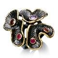 Dc1989 special novas cores anéis para as mulheres anel de noivado flor banhado a ouro & preto material do meio ambiente livre de chumbo