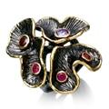 Dc1989 special nuevos colores anillos para las mujeres anillo de compromiso de la flor de oro y negro plateado material respetuoso del medio ambiente sin plomo