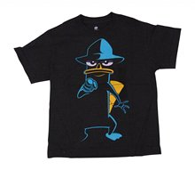 2017 New Arrival Fashion Phineas and Ferb Perry the Platypus pointing shirt black Summer New Cotton T Shirt