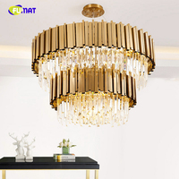 FUMAT Luxury 2 Layers Crystals Chandelier Modern Gold Brushed Metal Body Lustre K9 Crystal Lights Hotel Living Room Chandeliers