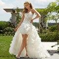 Роскошные Бисером Милая Паффи Органзы Короткие Передний Лонг Вернуться Высокий Низкий Свадебное Платье Пляж Сад Невеста Платье CGT073