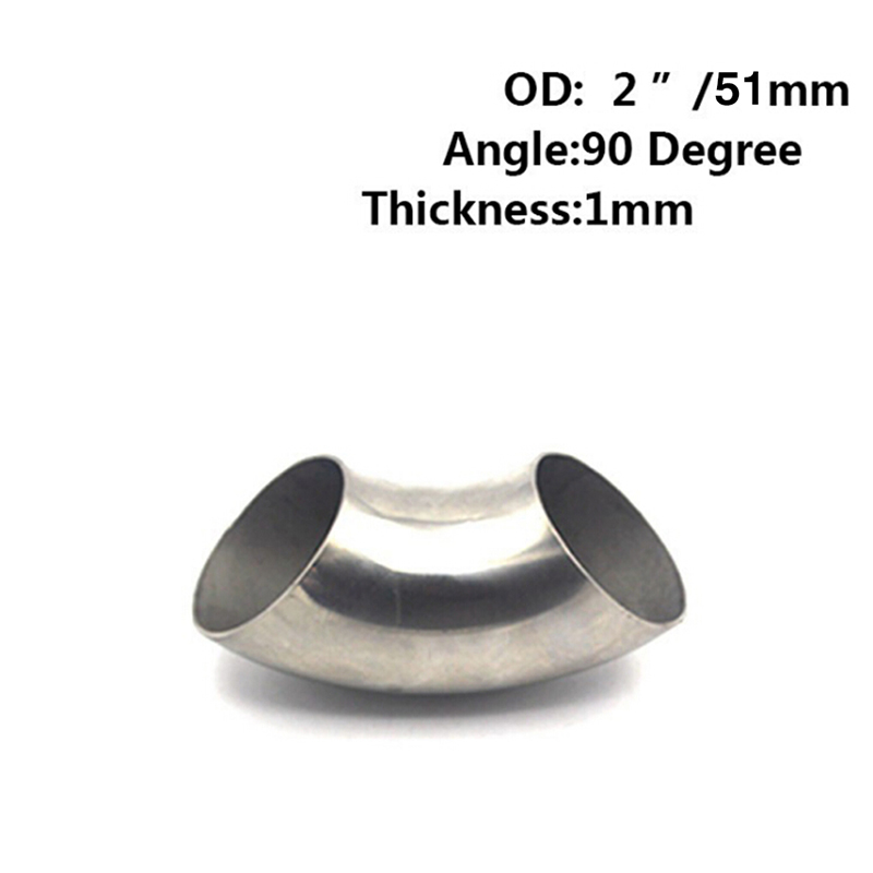 2.5/'/' 63mm OD Stainless Steel 90 Degree Exhaust Weld Bend Elbow Pipe Fitting