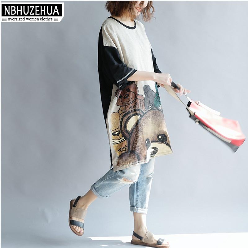 Grande 4xl Ours Impression Nbhuzehua Long Taille Style T Women De 5xl 6xl Femmes Bande A90 Kawaii Dessinée Casual 2018 Tops Tees Tees Coréen women shirt 54ARjq3L