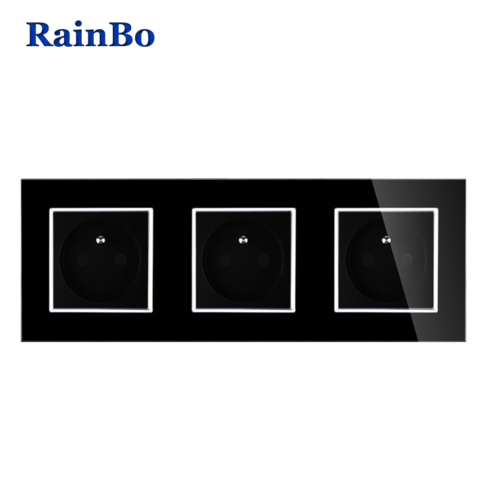 купить RainBo NEW Wall power Socket Standard Power Black Crystal Glass Panel AC110~250V 16A Wall Power Socket Free Shipping A38F8F8FB по цене 1268.15 рублей