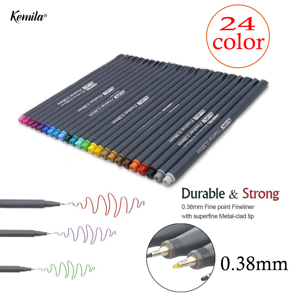 24 Colors Set 0.38 Hook Mark Pen Fineliner Pen Fine Line Point Colored Pens Art  Water Based Assorted Ink Drawing