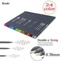 24 cores conjunto 0.38 gancho marca caneta fineliner caneta linha fina ponto colorido canetas arte à base de água sortidas tinta desenho