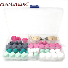 Silicone Wooden Teething Beads Nursing Necklace DIY Kit Geometric Hexagon Silicone Wood Beads Necklace Baby Teether Toy S407