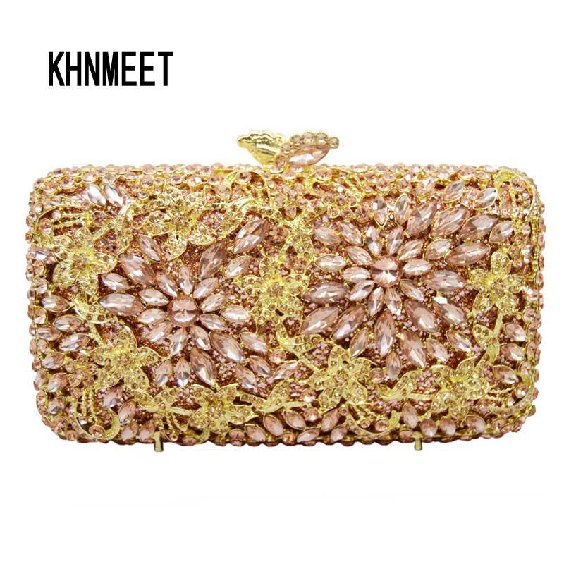 laiSC champagne clutch bags silver prom ladies purse fashion flower design luxury crystal evening handbags women