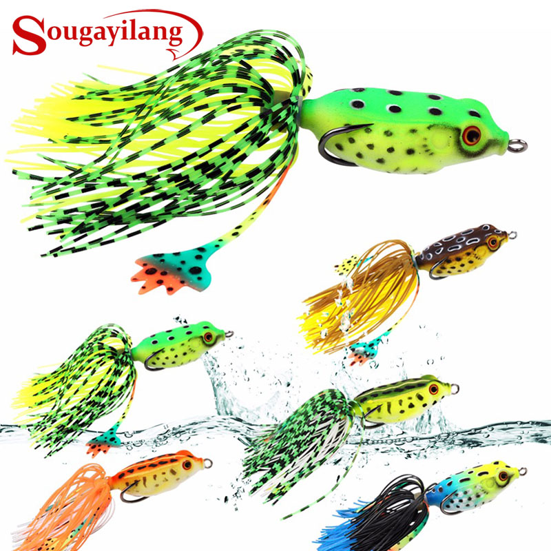Sougayilang 1Pc Soft Plastic Frog Fishing Lure 7g 5.2cm Minnow Crank Strong Artificial Soft Bait Fishing Tack