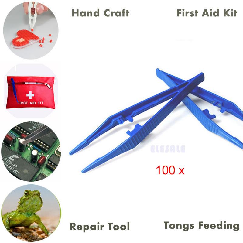 100 Pcs/Set Plastic Tweezers Tool For First Aid Kit,Emergency Kit,Kids DIY Handicraft,Repair Maintenance And Tongs Feeding