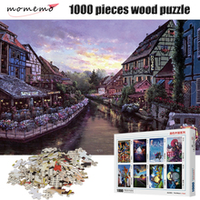MOMEMO Wooden 1000 Pieces Puzzle Sunrise Riparian High Definition Landscape Painting Jigsaw Adult Decompression Puzzles