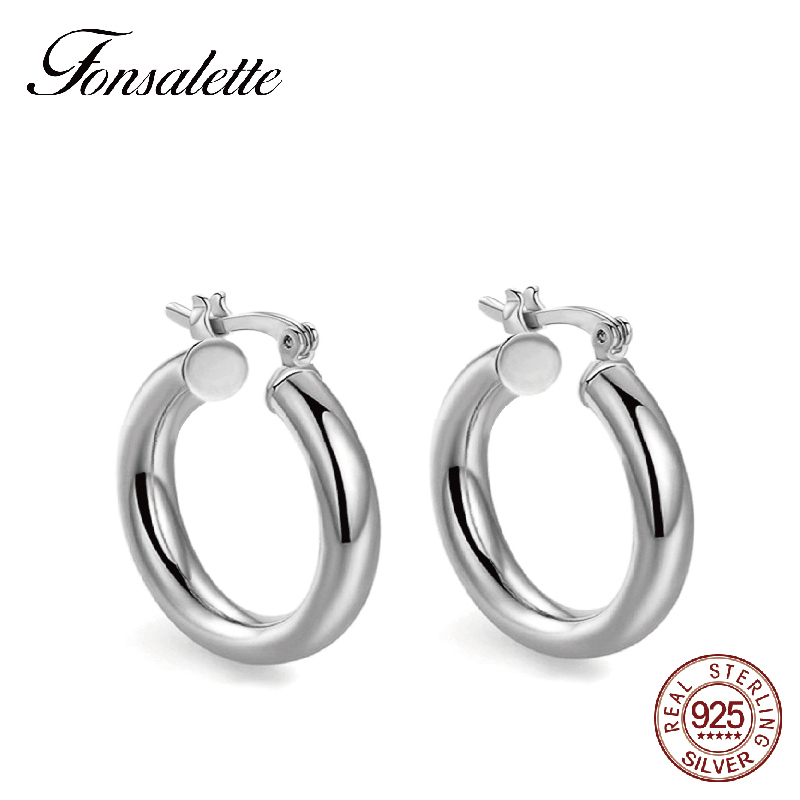 Fashion 18K gold Hoop Earrings Women Jewelry 925 Sterling Silver Ear Jewelry Round Circle Loop earrings brincos wholesale Zk30 personality women creole earrings fashion jewelry silver small circle hoop earing set of 9 pairs bijoux statement hoop earrings