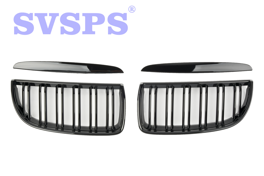 High Quality ABS Front Middle Grille Double Slat Style For BMW E90 E91 2005-2012 Year pair car front headlamp clear lens headlight plastic shell clear cover for bmw e90 e91 2004 2005 2006 2007