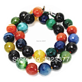 45CM / 14MM Football Round Multicolor Real Agate Necklace. Nice Jewelry Gift For Mothers!