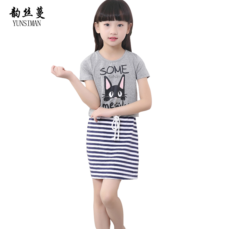 2018 Baby Girls Dress Suits 4 6 8 10 12 Years Kids Cartoon Cat Stripes Cotton T Shirt for Girls Teens Summer Clothing Sets 5C21