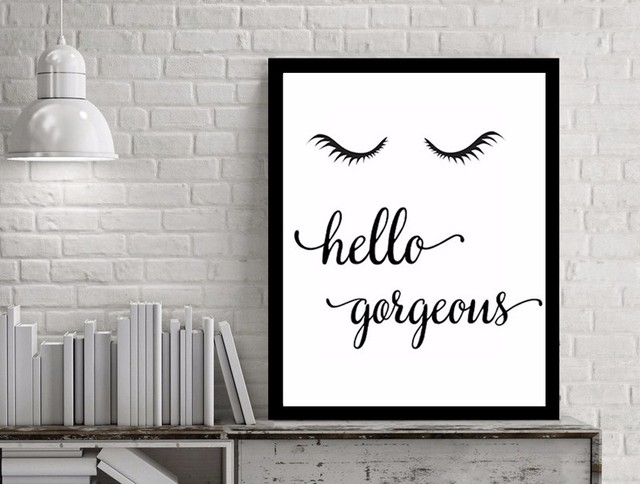 Canvas art hello gorgeons quotes pop art oil painting by numbers picture posters and prints