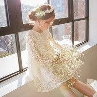 Cute Baby Girls Summer Korean Dress Girl Fashion Full Sleeve Knee Length White Lace Dress Girls