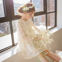 Cute Baby Girls Summer Korean Dress Girl Fashion Full Sleeve Knee Length White Lace Dress Girls