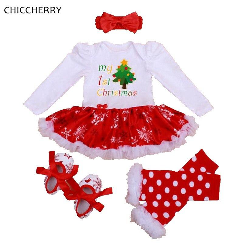 707874d05b Mój pierwszy boże narodzenie kostium Baby Girl odzież ustawia koronki  Romper sukienka pałąk getry szopka buty dziewczyny boże narodzenie Tutu  Outfit