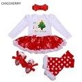 Mi Primera Navidad Traje de Bebé Ropa de La Muchacha Establece Vestido Mameluco del Cordón de Calentadores de La Pierna de Los Zapatos del Pesebre Diadema Navidad Niñas Tutu Outfit