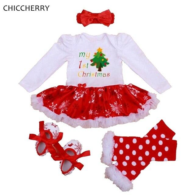 462fe9466980f Mon premier Costume de noël bébé fille vêtements ensembles dentelle  barboteuse robe bandeau jambières berceau chaussures