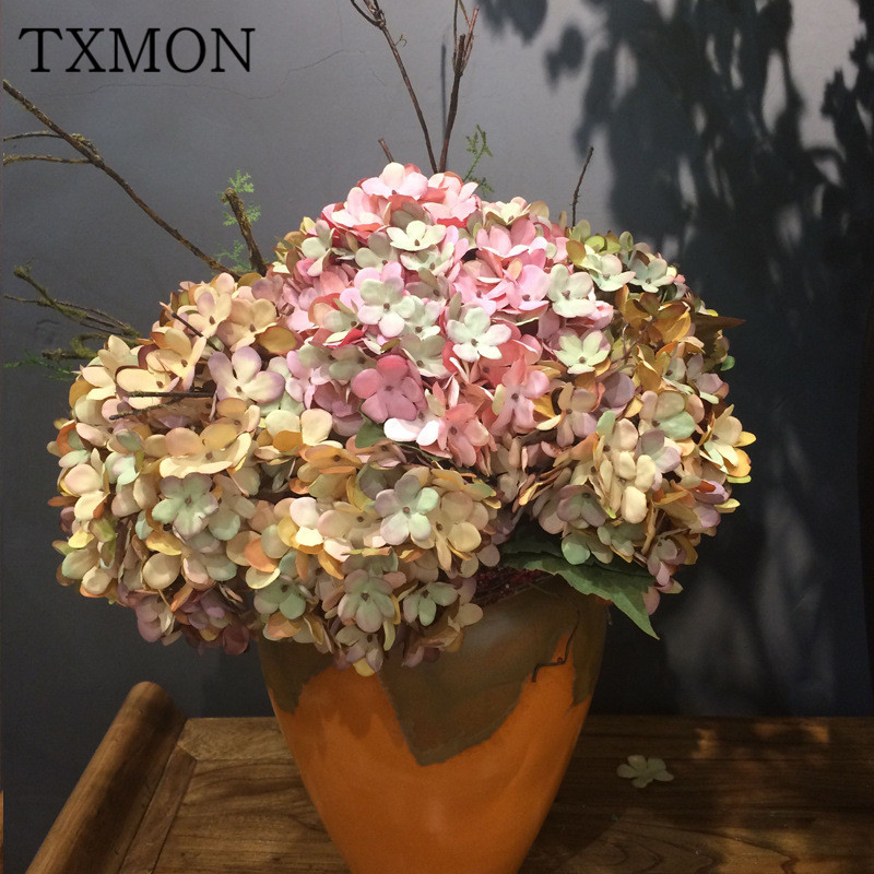 Ting Lan European retro color simulation plant wall hydrangea simulation artificial flowers wedding decorations silk flowers ...