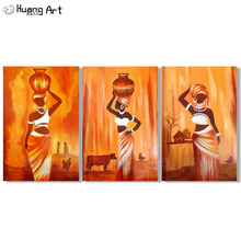 Modern Abstract Portrait Canvas Art African Women Hold Bottle on the Head Oil Painting Wall Pictures for Living Room