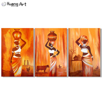 Modern Abstract Portrait Canvas Art African Women Hold Bottle on the Head Oil Painting on Canvas Wall Pictures for Living Room
