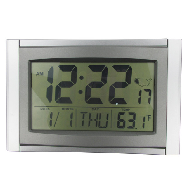 Atomic Alarm Digital Clock 5 In 1 Lcd Radio La Crosse Technology Wall Temperatured Snooze