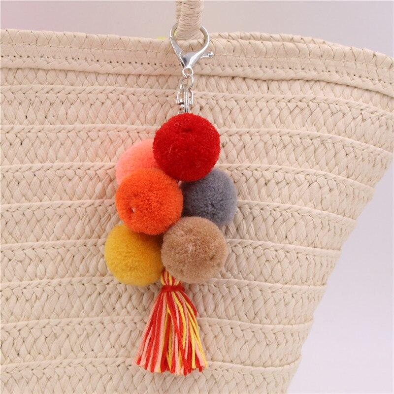 1 шт. красочные Boho Тюль Pom брелок сумка аксессуары кисточкой сумка кошелек Радуга Шарм брелок в подарок